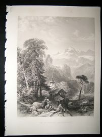 Switzerland 1854 Steel Engraving. Val St. Nicola, Antique Print